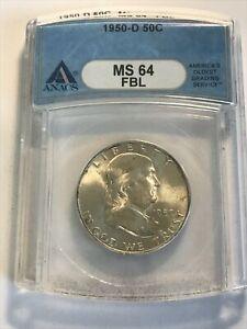 1950-D Franklin Half Dollar Silver 50C Choice Uncirculated ANACS MS64 FBL