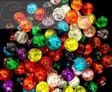 50 perles craquelées en verre multicolores 6 mm