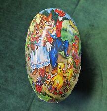 Vintage Large Papier Mache Easter Egg Candy Container Bunnies Ducks & Bluebirds