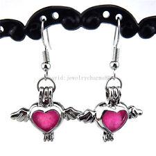 Bridal Silver Flying Wing Heart Bead Cage Locket Girls Earrings Dangle