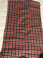 "Vintage Black Red Plaid Flannel Fabric Yardage 6 1/3 Yds x 44"" Wide"