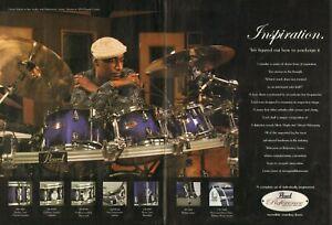 2005 2pg Print Ad of Pearl Reference Series Purple Craze Drum Kit w Omar Hakim
