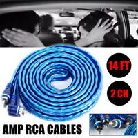 14FT 2CH Car Audio RCA Phono Lead Cable Car AMP Amplifier Installation Sub Wire