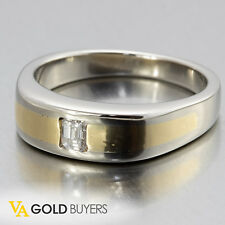 1970s Vintage Estate 18k Two Tone Diamond Wedding Band 0.25ct E/Vs1 - Size 10