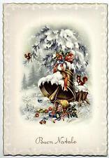 Buon Natale con Campana Xmas w Bell Cloche Glocke Vintage PC Circa 1950 17
