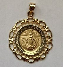 #M-58 Stunning 14 Kt Yellow Gold Round Lace Double Sided Miraculous Medal