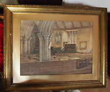 CHURCH INTERIOR FINE &  OLD   WATER COLOR BY LISTED ARTIST :D.C.MACKINLAY