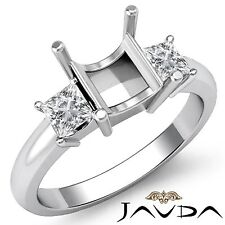 Three Stone Diamond Princess Mount Engagement Prong Set Ring Platinum 950 0.5Ct
