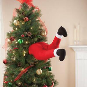 Soft Plush Santa Claus Legs Stuck In the Christmas Tree Ornament Decoration