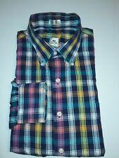 PETER MILLAR l/S Button Front Plaid 100% Cotton Shirt Size L