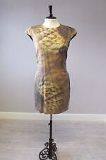 TED BAKER GOLD PRINT DRESS IN SIZE 10/2 - FULLY LINED - SILK MIX - POCKETS