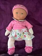 doudou peluche poupon bebe poupee corolle robe rose fleur 2008 30cm