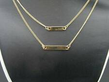 "$18 Stephan Double Layer Chain ID Bar Accents Goldtone Necklace 19"" Long"