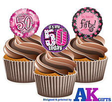 PRECUT Happy 50th Birthday Pink Balloon 12 Edible Cupcake Topper Cake Decoration