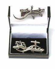 Lizard Cufflinks & Tie Clip Bar Slide Set Wildlife Gift