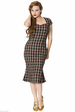 DANCING DAYS by BANNED Rockabilly 50s Pencil Wiggle Cap Sleeve Check Dress SZ L