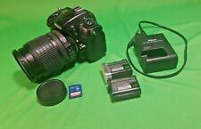 Nikon D7000, AF-S 18-200mm f/3.5-5.6G Lens, 2 Batteries & Charger Plus Extras.