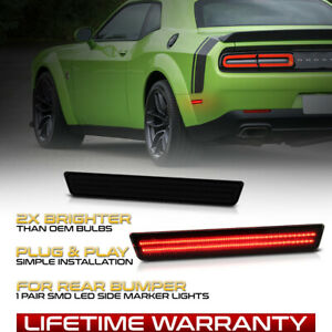 For 15-21 Dodge Challenger [SMOKED RED LED] Rear Side Marker Light Bumper Lamps