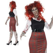 Adult Zombie School Girl Costume Ladies Halloween Fancy Dress Curves Plus Size