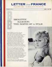 Brigitte Bardot    French Film Office    Letter from France   April - May 1958
