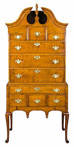 SWC-Fine Tiger Maple Queen Anne Highboy with Bonnet top, MA, c.1750