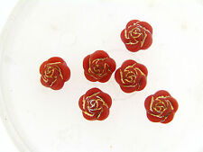 ee9da3a50c7e Vintage German Mute Coral Salomon Gold Trim Sculpted Rose Flower Lucite  Beads