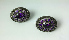 vintage 925 sterling silver oxide with oval cut  amethyst  texture  earrings
