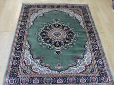 Traditional Persian Medallion Oriental Silk Like Rug GREEN CREAM floor carpet