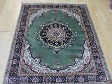Traditional Persian Medallion Oriental Silk Like Rug GREEN & CREAM S M L XL SIZE