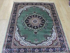 Traditional 2MM Thick Oriental Design Silk Like Rug GREEN CREAM floor carpet Mat
