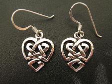 Herz Keltischer Knoten 925'er Silber Ohrringe Ohrhänger Paar      / OR 708