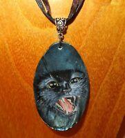 Abalone Muschel Anhänger Schwarze Katze Hexe Familiär Russisch Handbemalt
