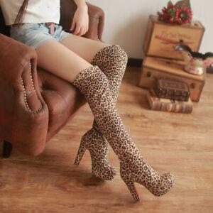 Men's Boots Chunky Heels Elastic Over Kneel Leopard Crossdresser Shoes Plus Size
