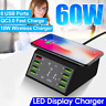 LCD Display 60W 8 USB Ports Hub 10W Wireless Charger Fast Charging Station