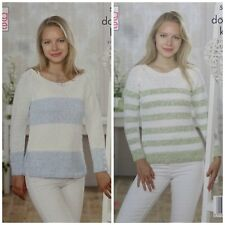 KNITTING PATTERN Ladies Long Sleeve Striped Jumpers DK King Cole 5040