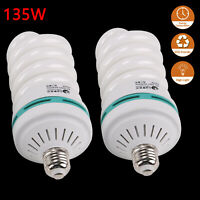 E27 220V 2X135W Photo Studio Light Daylight Lamp LED Bulb Continuous Lighting UK