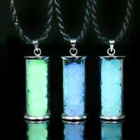 Wishing Bottle Gemstone Pendant Necklace Jewellery Glow in the Dark Fluorescence