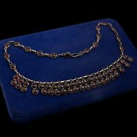 Antique Vintage Art Deco Sterling Silver Almandine Garnet Festoon Necklace 26.2g