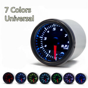 2'' Car Tacho Gauge Meter Tachometer 0-8000 RPM 7 Color LED Display Universal