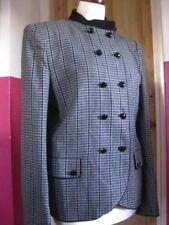 "Ladies vintage JAEGER WOOL JACKET size UK 12 retro black white 34 36"" military"