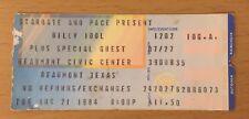 1984 BILLY IDOL BEAUMONT TEXAS CONCERT TICKET STUB REBEL YELL TOUR WHITE WEDDING