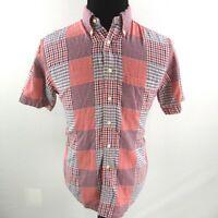 Brooks Brothers Plaid Madras Shirt Mens Small Red Blue White Short Sleeve
