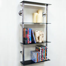 Wall Mounted Glass 90 CD / 60 DVD Storage Shelves - Black / Silver CH1531S-4TBLK