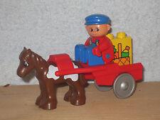 Lego Duplo Bauernhof: Bauer auf Sulky mir Pony