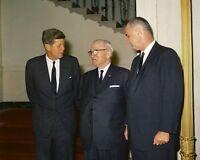President John F. Kennedy and VP Lyndon Johnson with Harry Truman New 8x10 Photo