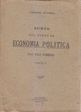 SUNTO DEL CORSO DI ECONOMIA POLITICA 2 volumi di Ugo Tombesi 1920 La Litotipo