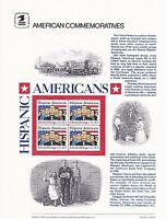 USPS Commemorative Panel 235 Hispanic American #2103 Block/4 Mint