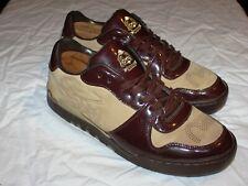 Evisu Low Top Sneakers Men's Size 10 Burgandy / Beige 018837