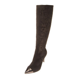 RRP €265 FABI Suede Leather Knee Boots EU 36 UK 3 US 6 Heel Floral Made in Italy