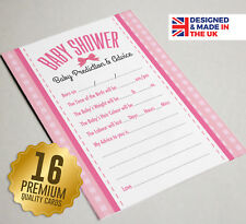 Baby Shower Prediction & Advice Game Cards,16 A6 Size, PINK BOW, Baby Girl Party